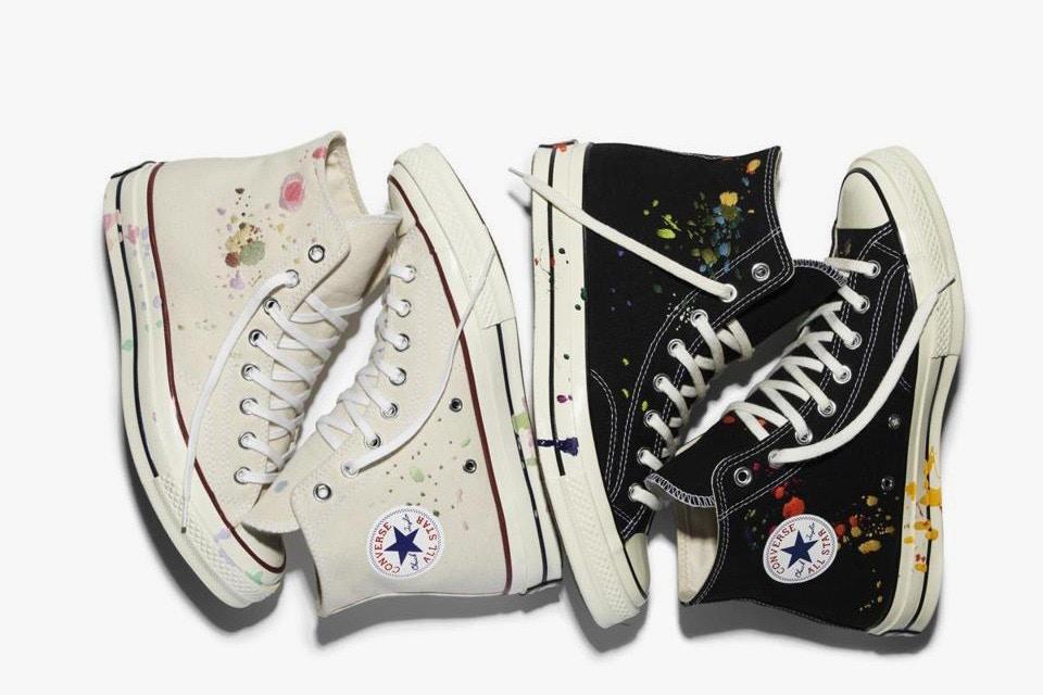verfspatten op converse schoenen