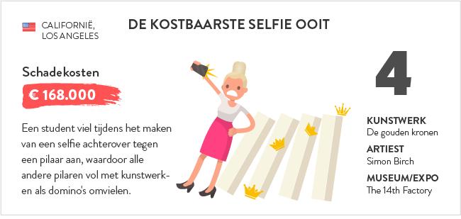 vrouw valt om tijdens selfie en laat kunstwerken omvallen