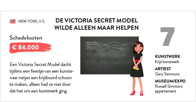 victoria secret model verwoest krijtbord kunstwerk