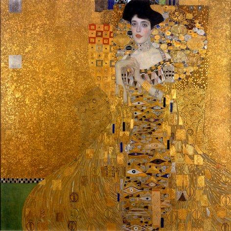 Gustav-Klimt-vrouw-in-goud-schilderij