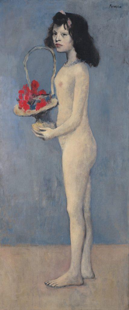 Pablo-Picasso-jong-meisje-met-bloemen-mandje-schilderij