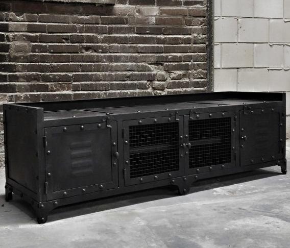 Industrieel tv-meubel Blast metaal zwart